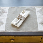 Linen for You Grey Patchwork Placemat napkin holder