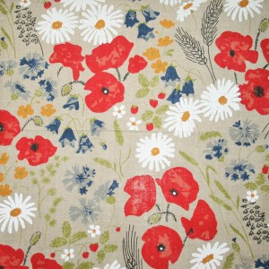 Linen Flower Pattern on Grey (2)