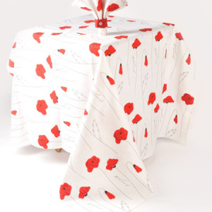 Linen tablecloth poppy pattern