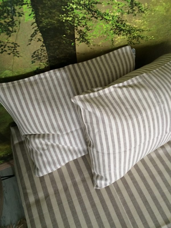 100% Linen or flax. Natural and White stripe pattern. Handmade item.