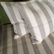 100% Linen or flax. Natural and White wide stripe pattern. Handmade item.