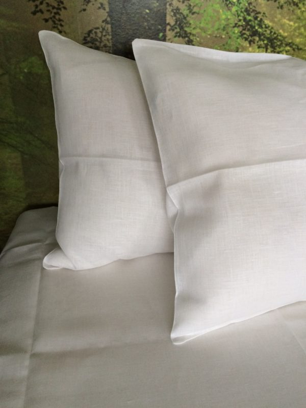 100% Linen or flax. Pure white Pattern. Handmade item.