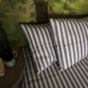 100% Linen Pillow cases. Black and white stripe pattern. Handmade item.