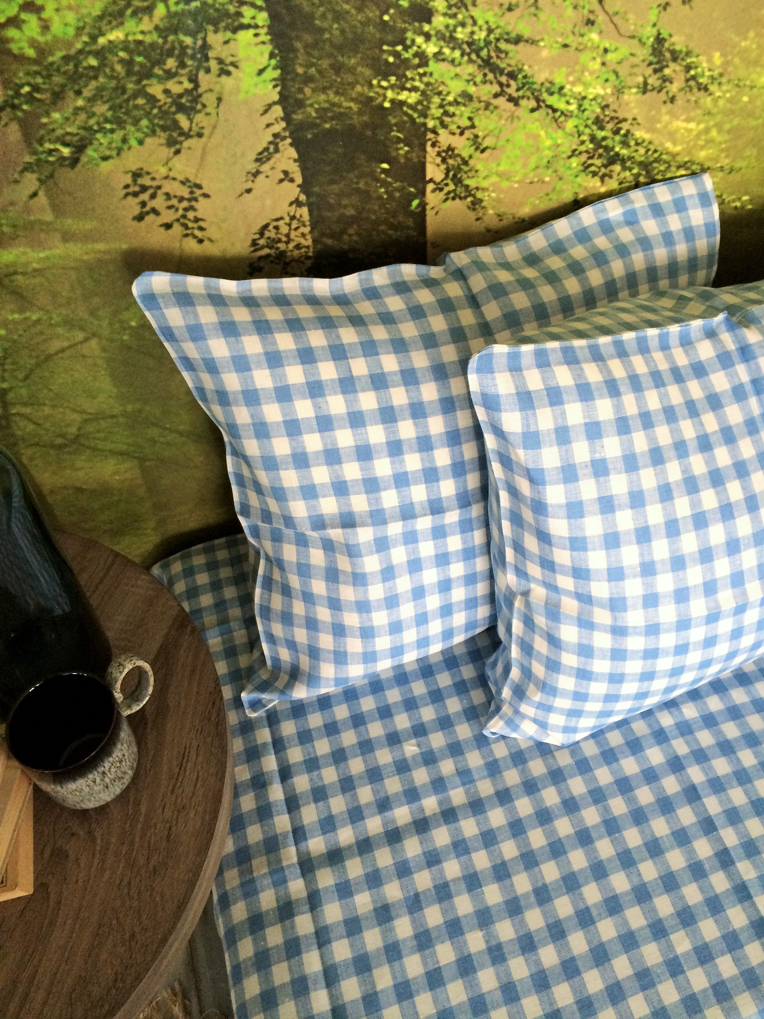 linen pillow case in blue and white gingham
