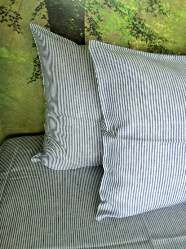 100% Linen Pillow cases. Blue and white stripe pattern. Handmade item.