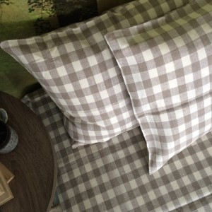100% Linen or flax. Natural and White Plaid pattern. Handmade item.