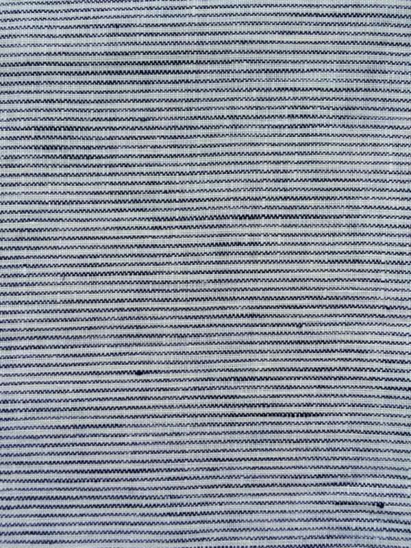 100% Linen or flax. Blue and white pinstripe pattern. Handmade item.