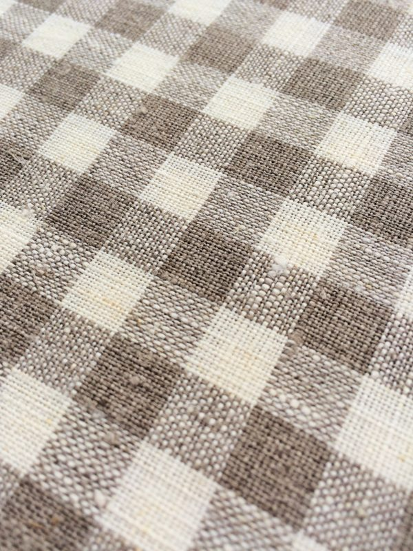 100% Linen or flax. Natural and white gingham pattern. Handmade item.