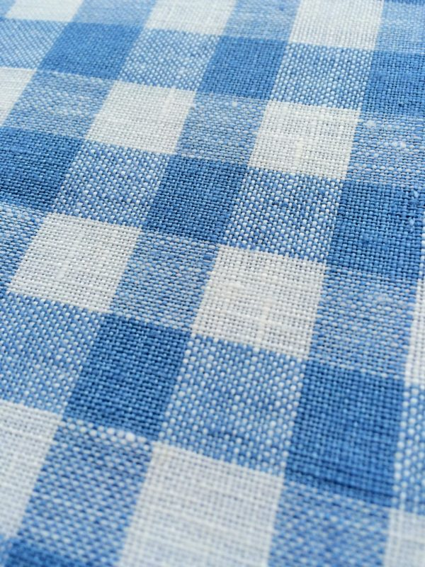 100% Linen or flax. Blue and White gingham pattern. Handmade item.