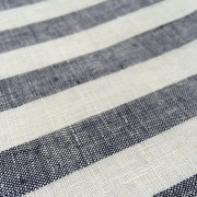 100% Linen or flax. Black and white stripe pattern. Handmade item.