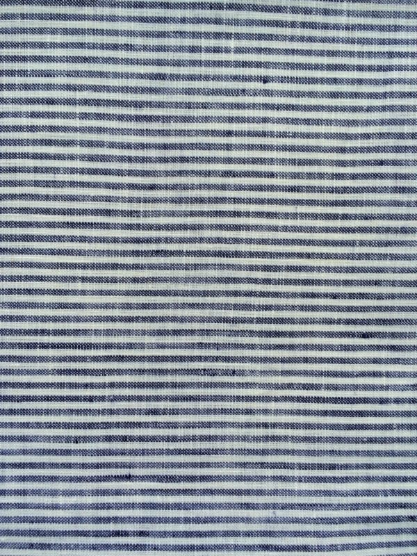 100% Linen or flax. Blue and white stripe pattern. Handmade item.
