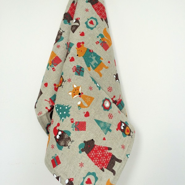 Linen tea towel in Christmas