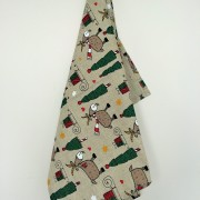 Linen tea towel in Christmas Goat pattern