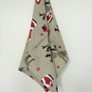 Linen tea towel in Christmas Reindeers pattern