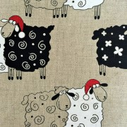 Linen tea towel in Christmas Sheeps pattern