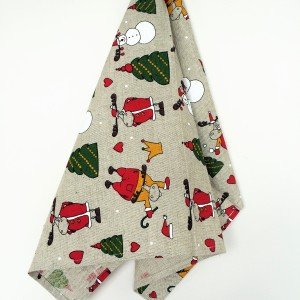 Linen tea towel in Christmas Mooses pattern