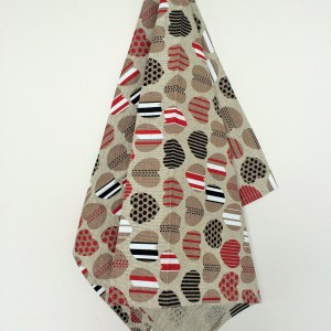Linen tea towel in Hearts pattern