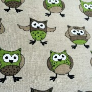 Linen tea towel in Green Owls pattern