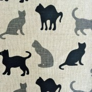 Linen tea towel in Black and Grey Cats pattern