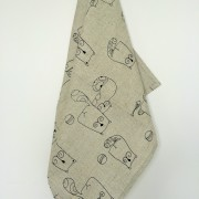 Linen tea towel in Abstract Cats pattern