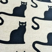 Linen tea towel in Cat Ghato pattern