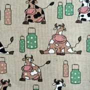 Linen tea towel in Milk Cow pattern