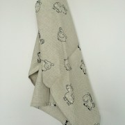Linen tea towel in Happy Animals pattern