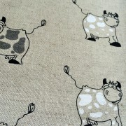 Linen tea towel in Cow pattern