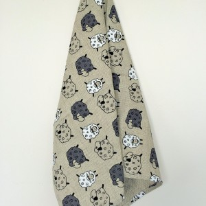 Linen tea towel in Sheep pattern