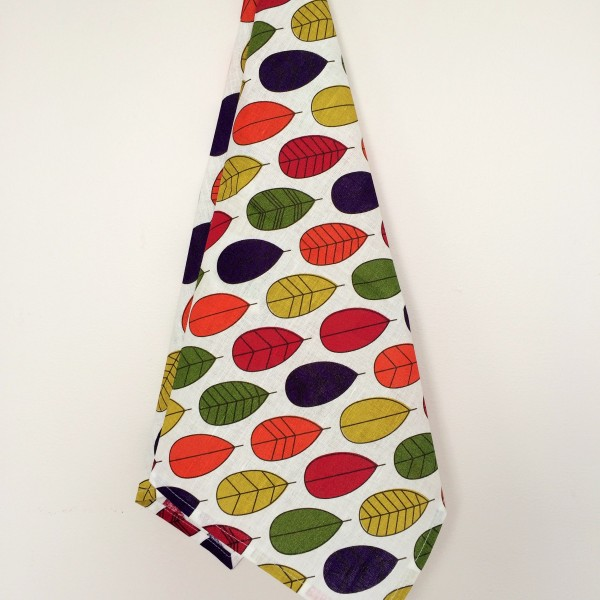 Linen tea towel in Colorful Leaves pattern