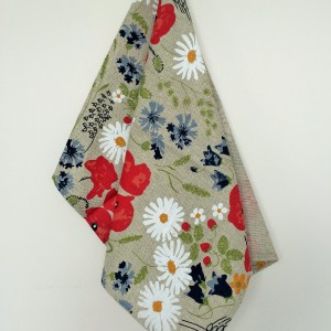 Linen tea towel in Summer Flowers pattern
