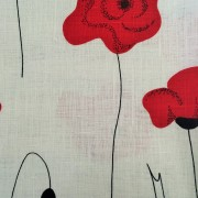 Linen tea towel in Poppy pattern on white