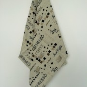 Linen tea towel in Coffee pattern