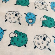 Linen tea towel in Colorful Sheep pattern