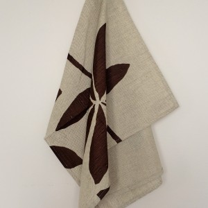 Linen tea towel in Brown Leaf pattern