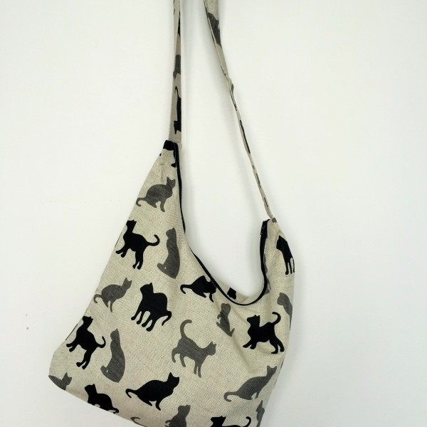 "Linen handmade bag ""Black and Grey Cats"""