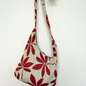 "Linen handmade bag ""Bordeaux Leaf """