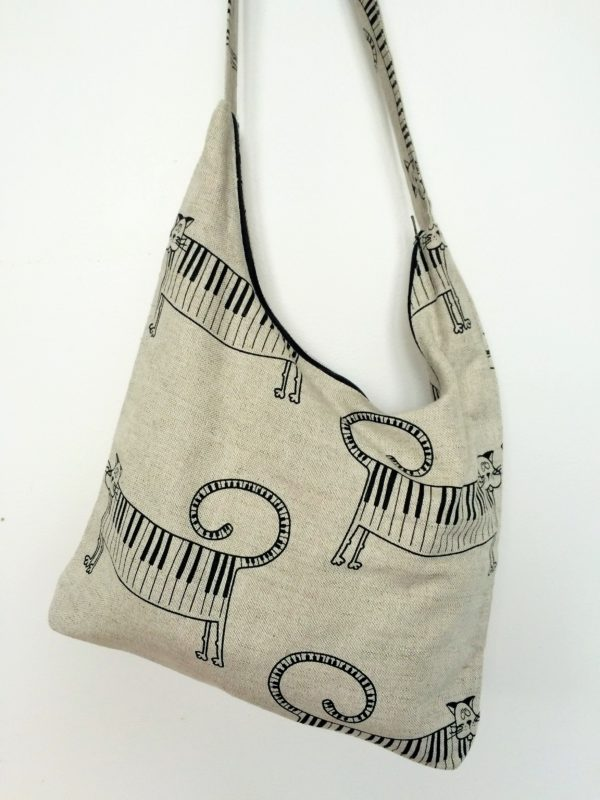 "Linen bag handmade ""Cat Piano"""
