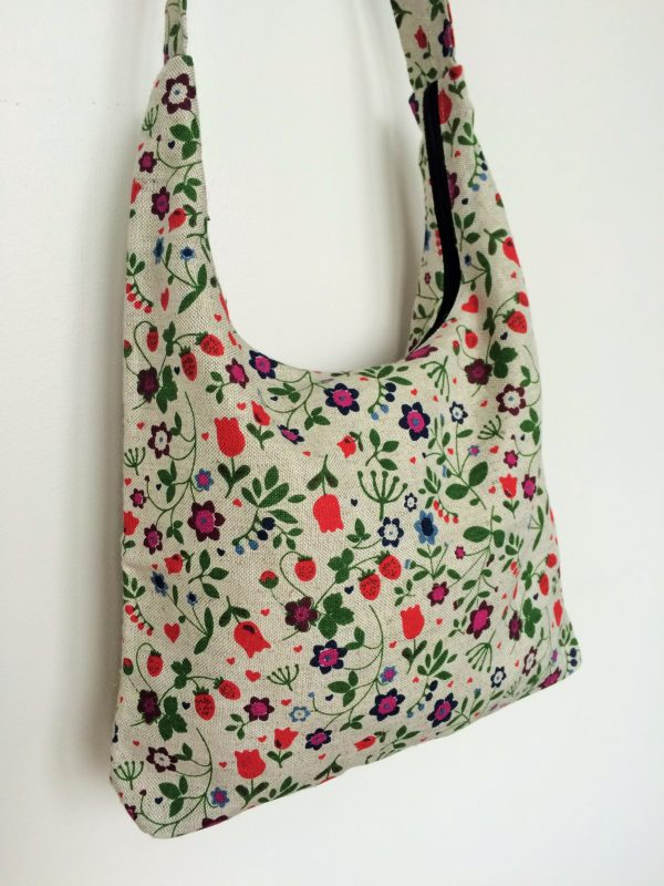 Linen handmade bag Field flowers