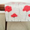 Pure 100% linen table runner. Handmade table linen. Poppy pattern on grey, gray.