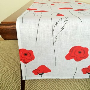 Pure 100% linen table runner. Handmade table linen. Poppy pattern on white.