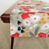 Pure 100% linen table runner. Handmade table linen. Summer flowers pattern..