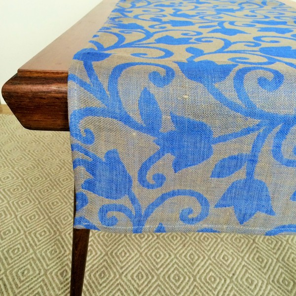 Pure 100% linen table runner. Handmade table linen. Floral ornaments pattern..