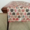 Pure 100% linen table runner. Handmade table linen. Hearts pattern.