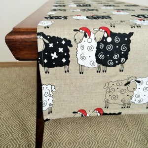 Pure 100% linen table runner. Handmade table linen. Chrstmas sheep pattern.