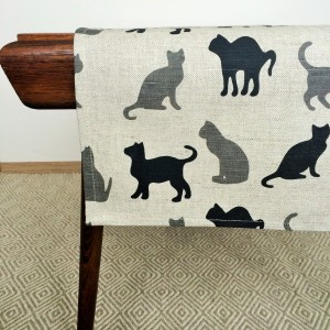 Pure 100% linen table runner. Handmade table linen. Black and grey cats pattern.