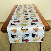 Pure 100% cotton table runner. Handmade table linen. Funny colorful cats pattern.