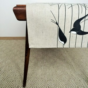 Pure 100% linen table runner. Handmade table linen. Swalows pattern.