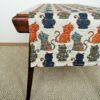 Pure 100% linen table runner. Handmade table linen. Happy cats pattern.