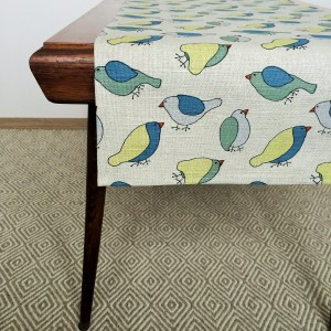 Pure 100% linen table runner. Handmade table linen. Bird pattern.